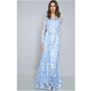 True Decadence Blue Floral Embroidered Maxi Dress